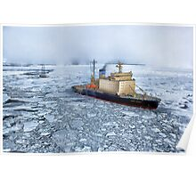 HDR Image of Boat or ship in the arctic sea ocean water antarctica winter snow Poster