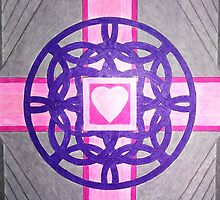 Pink Celtic Heart Cross by Janette Oakman