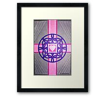 Pink Celtic Heart Cross Framed Print