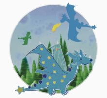 Cute Blue Cartoon Dragon with Star Wings and Tail by cartoon-dragons