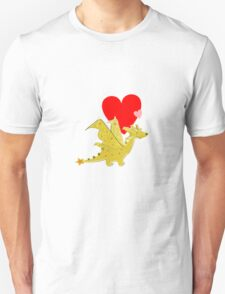 Cute Orange Cartoon Dragon with Love Hearts T-Shirt