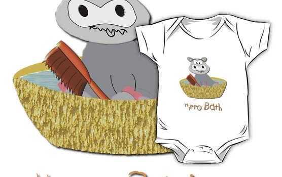 A Hippo Having a Bath T-shirt by Dennis Melling