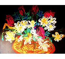 FLOWERS IN A LITTLE BASKET Photographic Print