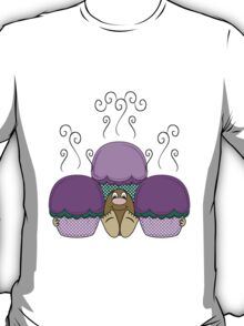 Cute Monster With Purple And Cyan Frosted Cupcakes T-Shirt
