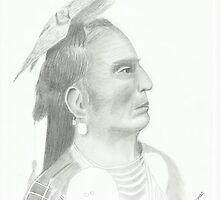 Native American - Pencil Portrait 3 by Janette Oakman
