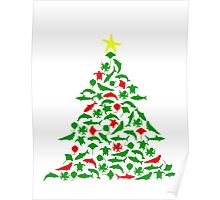 Sea Animal Christmas Tree Poster