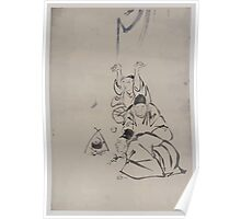 Three monks or travelers lighting a fire beneath a teapot 001 Poster