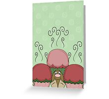 Cute Monster With Red And Green Frosted Cupcakes Greeting Card