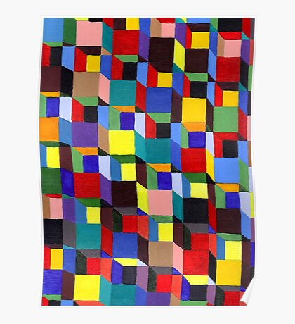 Abstract Art Study Colorful Blocks Poster