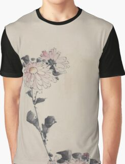 Pink flower blossoms on low stalk and two on a tall stalk 001 Graphic T-Shirt