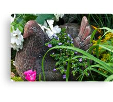 Hen Planter Among The Beauty Canvas Print