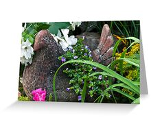 Hen Planter Among The Beauty Greeting Card
