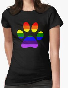 Rainbow Paw Womens Fitted T-Shirt