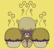 Cute Monster With Yellow And Purple Frosted Cupcakes Kids Tee