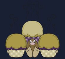 Cute Monster With Yellow And Purple Frosted Cupcakes One Piece - Short Sleeve