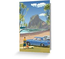 Piha New Zealand with Surfers 1969 Greeting Card