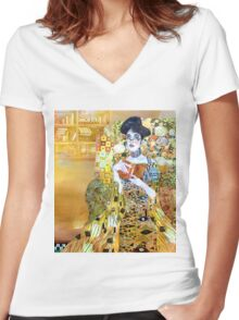 girl in library Women's Fitted V-Neck T-Shirt