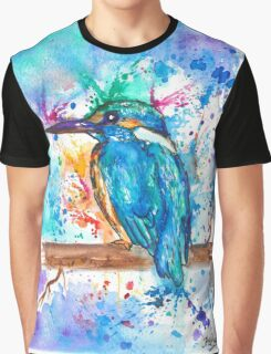 KINGFISHER - Watercolor bird painting - artwork by Jonny2may Tshirts + More! Graphic T-Shirt