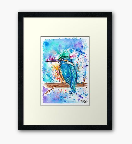 KINGFISHER - Watercolor bird painting - artwork by Jonny2may Tshirts + More! Framed Print