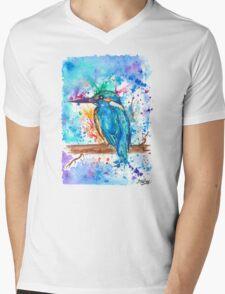 KINGFISHER - Watercolor bird painting - artwork by Jonny2may Tshirts + More! Mens V-Neck T-Shirt