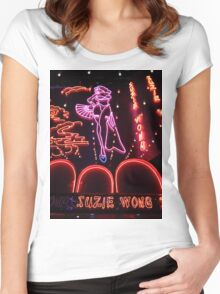 Suzie Wong's bar on Soi Cowboy (vertical) Women's Fitted Scoop T-Shirt
