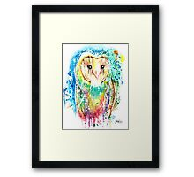 SNOW OWL - Watercolor bird painting - artwork by Jonny2may Tshirts + More! Framed Print