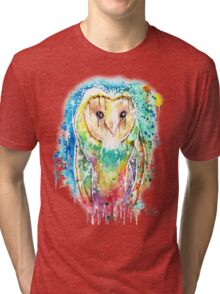 SNOW OWL - Watercolor bird painting - artwork by Jonny2may Tshirts + More! Tri-blend T-Shirt