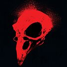 Crow Skull - Red on Black by Robert Hutchinson