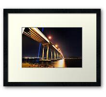 Tasman Bridge Dark MoFo spectra lights  Framed Print