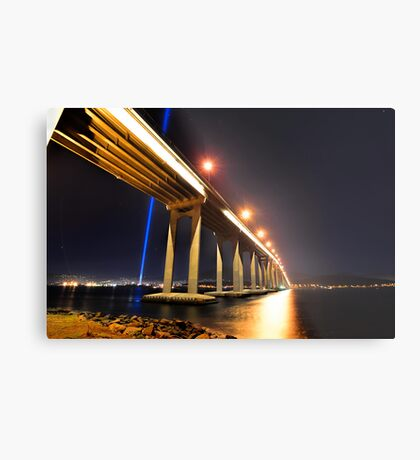 Tasman Bridge Dark MoFo spectra lights  Metal Print