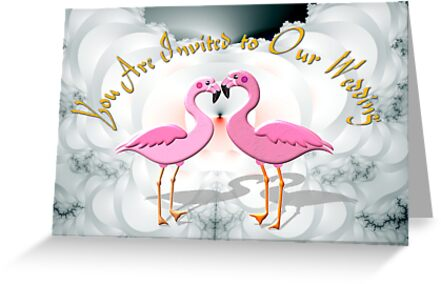 A Wedding Invitation based on Two Flamingos by Dennis Melling