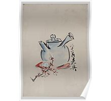Teapot with cherry or plum blossoms 001 Poster