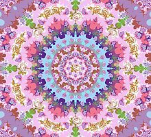 Fractal Patterns and Vintage Roses Kaleidoscope by walstraasart