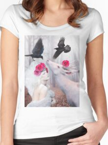 ~ The White Deer ~ Women's Fitted Scoop T-Shirt