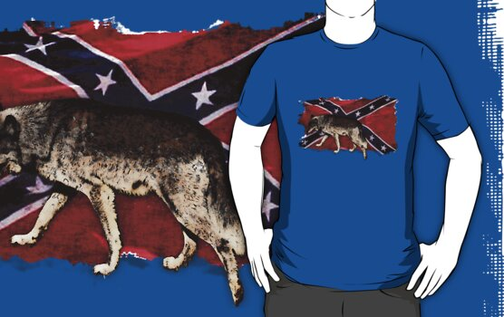 Confederate Flag Grey Wolf Southern Cross US Flag  by Val  Brackenridge