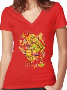 Distortion Sympathy - Watercolor Painting Women's Fitted V-Neck T-Shirt