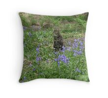 Mia in the bluebells Throw Pillow