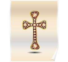 Christian Cross in Gold with Amber or Topaz Stones Poster