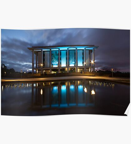 National Library Canberra Australia Moody Blue Poster