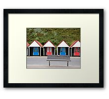 Bench & Beach Huts Framed Print