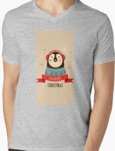 Penguin: Merry Chrismas Mens V-Neck T-Shirt