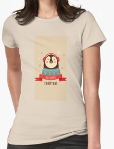 Penguin: Merry Chrismas Womens Fitted T-Shirt