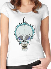 Flaming Skull Women's Fitted Scoop T-Shirt