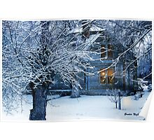 Old Country style house in snow Poster