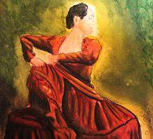 acuarela Rojo y Oro Trajes de Flamenca by Quinten Rhea