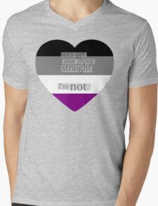 Let's get one thing straight, I'm not - Asexual heart flag Mens V-Neck T-Shirt
