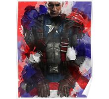 Captain America edit + watercolour effect Poster