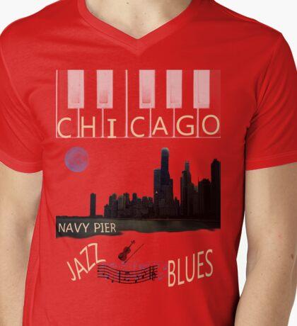 CHICAGO SKYLINE TEE Mens V-Neck T-Shirt