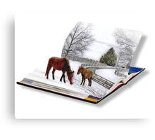 Horses in Snow Storm Canvas Print