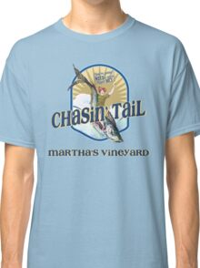 Chasin' Tail - Summer Fun - Martha's Vineyard - Vacation Souvenir T-Shirt - Girl Riding Fish Classic T-Shirt